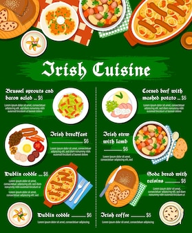 Irish food cuisine menu