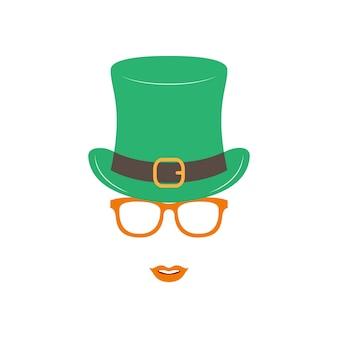緑の帽子とオレンジ色のメガネのアイルランドの女の子