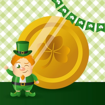 Irish goblin with a gold coin, happy st patricks day