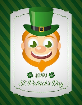 Irish leprechaun face, st patricks day greeting card
