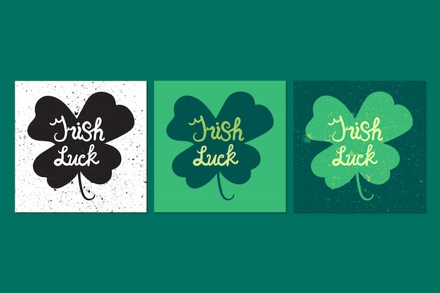 Irish luck lettering in clover