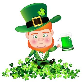아일랜드 사람 아일랜드 사람 성 패트릭의 날 동안 토끼풀에 맥주를 개최