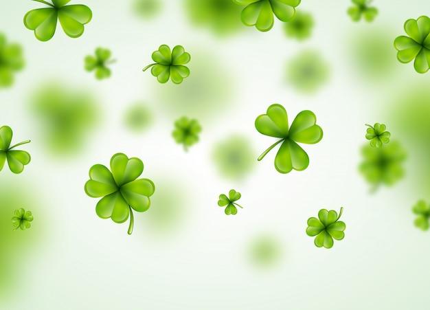 アイルランドのサン・パトリックス・デイ・バックグラウンド、グリーン・フォーリング・クローバーズ。