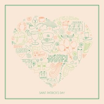 손으로 그린 그림이 있는 아일랜드 성 패트릭의 날 인사말 카드 광고 또는 배너용 낙서 템플릿