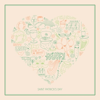 Irish st patrick s day greeting card with hand drawn pictures a doodle template for ad or banner