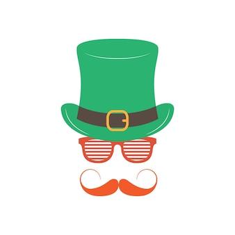 白い背景の上の眼鏡シャッターシェードを持つアイルランド人