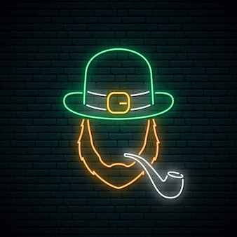 Irishman with smoking pipe neon sign.