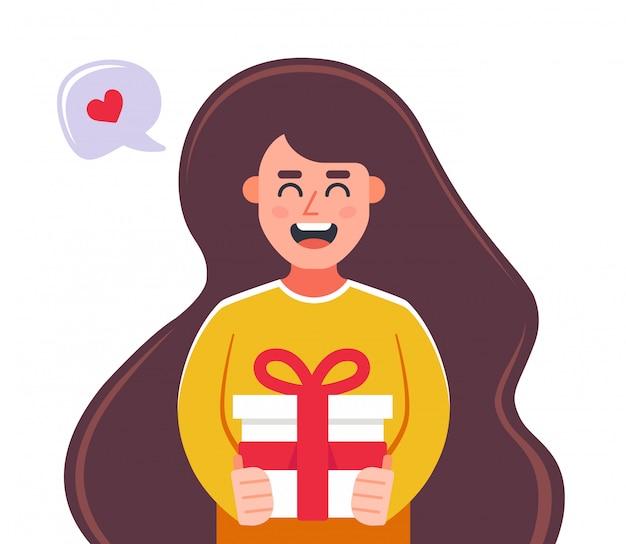 Irl дарит подарок в подарочной коробке. плоский характер векторные иллюстрации.