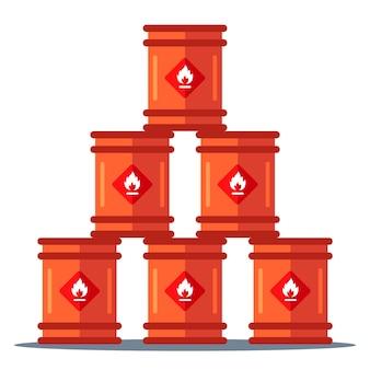 Iron barrels storage pyramid. storage of flammable substances. flat illustration