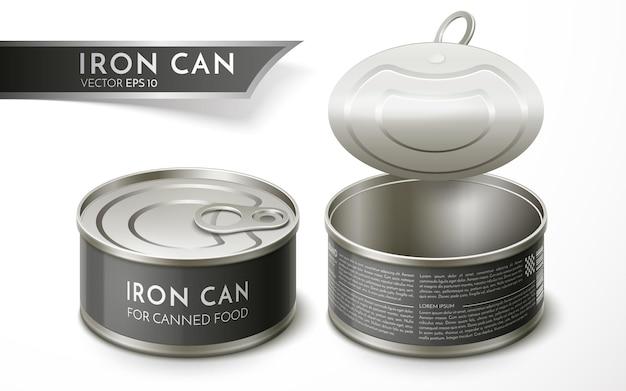 保存のための鉄缶。包装ラベルのデザイン。リアルなベクトルイラスト。