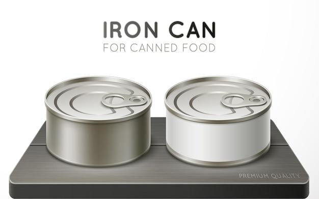 保存のための鉄缶。リアルなベクトルイラスト。