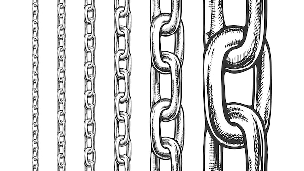 Iron chain seamless pattern in different scale