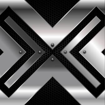 Iron cross over metallic background Free Vector