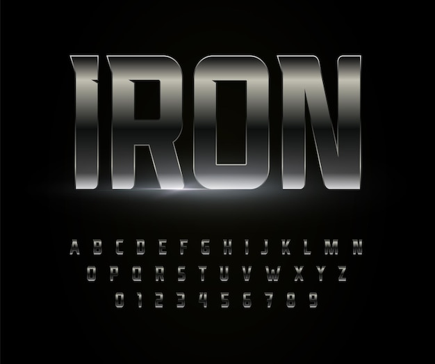 Iron font alphabet metal steel chrome letters stainless metallic typography high bold strong