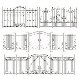 Железные ворота и забор дизайн с различными декоративными элементами. векторные иллюстрации