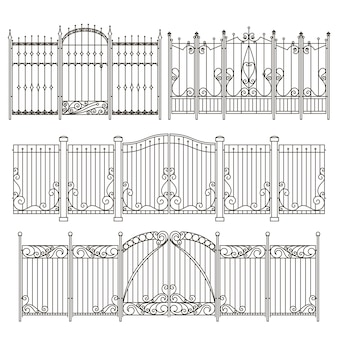 Iron gate and fence design with different decorative elements. vector illustrations
