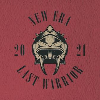 Железный шлем ретро иллюстрация дизайн для дизайна футболки