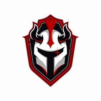 Iron helmet with horns mascot logo