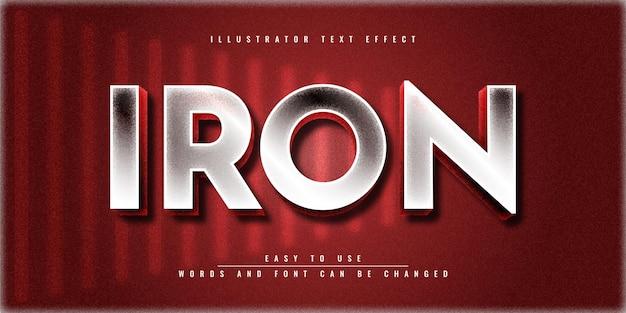 Редактируемый дизайн шаблона текстового эффекта iron illustrator в 3d