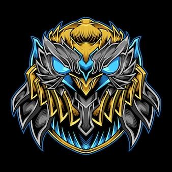 Iron mecha owl logo illustration