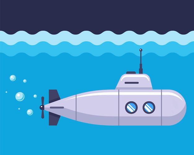 Железная подводная лодка в синем океане. плоская иллюстрация.