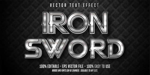 Iron sword text, shiny silver style editable text effect