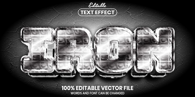 Iron text, font style editable text effect