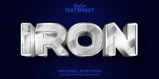 鉄のテキスト、光沢のあるメタリックシルバースタイルの編集可能なテキスト効果