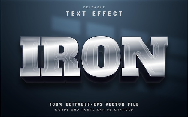 Iron text, silver style text effect editable