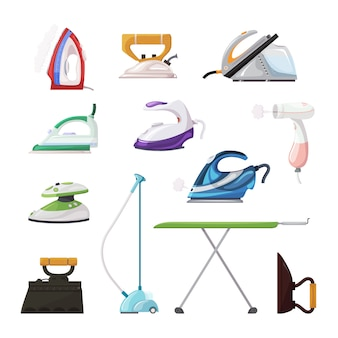 Iron vector ironing electric household appliance steamer of laundry housework illustration irony housekeeping set of hot irony steam equipment isolated icon set