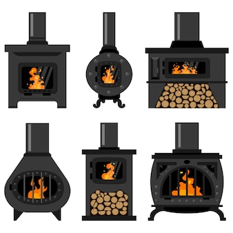 Iron wood burning stove with firewood and fire set