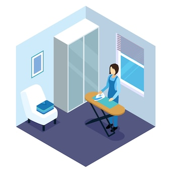 Ironing of clothes isometric composition