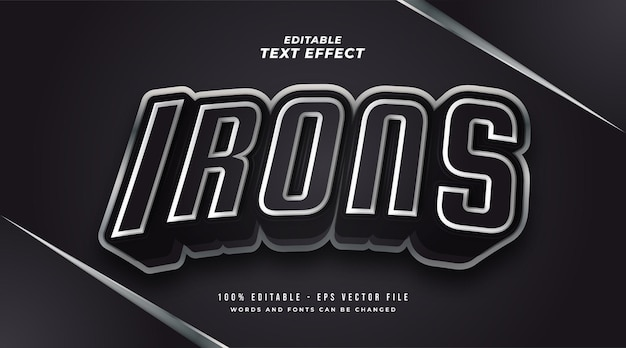 Irons text in black and white with metallic and 3d effect. editable text style effect