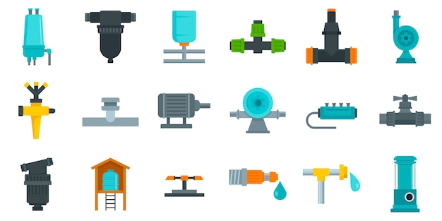 Irrigation system icon set