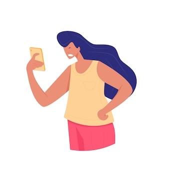 イライラした若い女性が電話の画面を見て