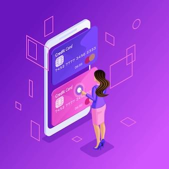 Яркая концепция управления кредитными картами онлайн, банковским счетом онлайн, бизнес-леди, переводящей деньги с карты на карту с помощью смартфона