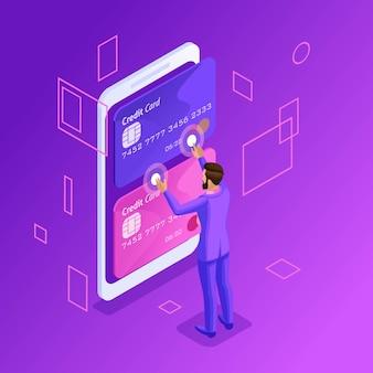 Яркая концепция управления кредитными картами онлайн, банковским счетом онлайн, бизнесменом, переводящим деньги с карты на карту с помощью смартфона
