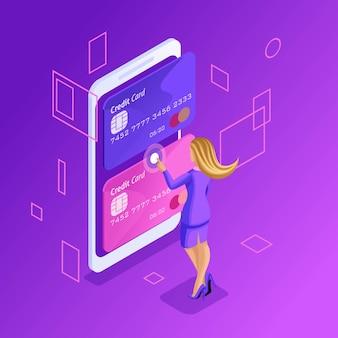 Это яркая концепция управления кредитными картами онлайн, банковским счетом онлайн, бизнес-леди, переводящая деньги с карты на карту с помощью смартфона
