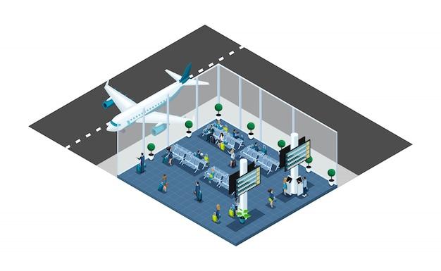 大きな空港ホール、待合室、トランザクションエリア、乗客は荷物、出張、窓際の飛行機で搭乗を待っています