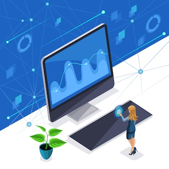 Стильная женщина, бизнес-леди управляет виртуальным экраном, плазменная панель, умная женщина использует высокотехнологичные технологии