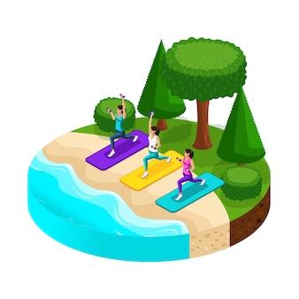 美しいビーチのある島で、女の子はビーチ、川、湖でスポーツをしています。健康的な生活様式
