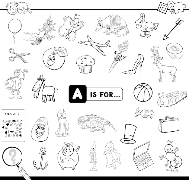 A is for educational game coloring book