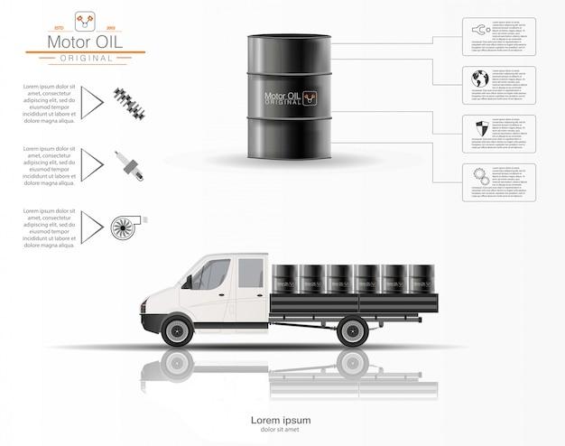 엔진 오일입니다. 엔진 오일의 인포 그래픽. 흰색 배경에 트럭의 3 차원 모델. 오일의 용량. 영상.