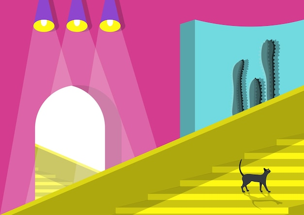 Ð¡at is walking stairs. flat vector illustration.