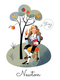 책을 들고 사과 나무 아래 의자에 앉아 빈티지 정장에 아이작 뉴턴 캐릭터