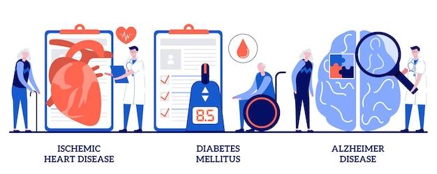 Ischemic heart disease, diabetes mellitus, alzheimer concept with tiny people. elderly people health problems set. dementia, coronary artery, blood sugar, memory loss metaphor.
