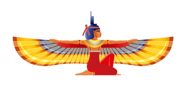 Isis, egyptian winged goddess.   woman, pharaoh tomb mural element. ancient egypt mythology icon.