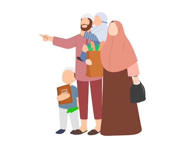 Islam family with father mother son and daughter