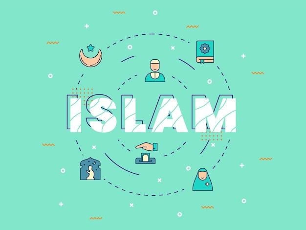 Islam lettering with ramadan and eid mubarak elements