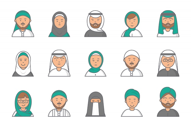 Islam linear avatars. arabian muslim saudi male and female  faces for web profile